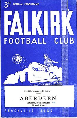 FALKIRK v Aberdeen, 22nd February 1964, Scottish League Division One