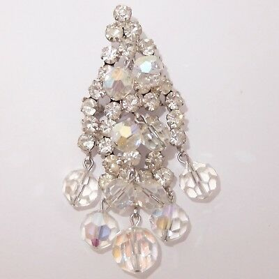 Vintage Verified Juliana D & E Crystal Rhinestone Glass Dangle Pendant Pin
