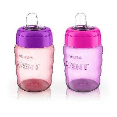 Philips AVENT - My Easy Sippy Cup, 9oz, 2-Pack, Purple/Pink