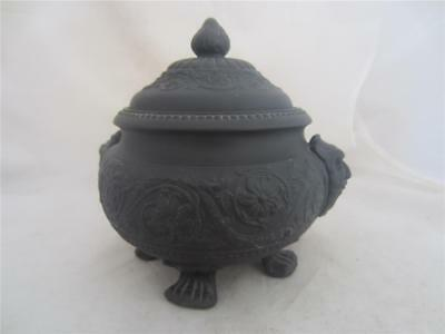 19Th Century Wedgwood Black Basalt Footed Pot& Cover