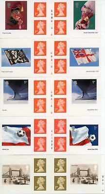 GB 2001-02 Selection of 5 Retail Booklets all with Cylinder Numbers FV £19.50