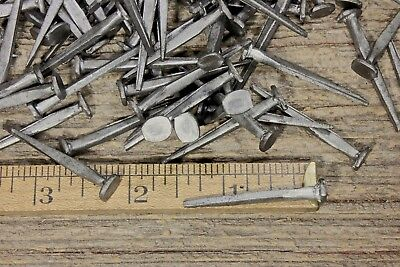 "1 1/2"" BRAD NAILS 50 lot antique square wrought iron look round flat heads 1.5"""