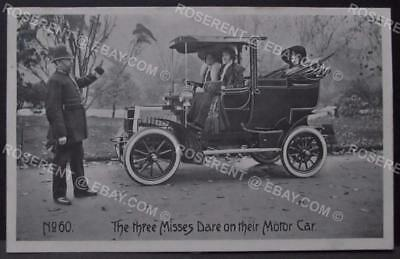 c1900s  the Three Misses Dare on their Motor Car - Printed Postcard