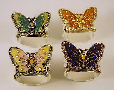 New Hans Turnwald Butterfly Silver Plated Jeweled Four Napkin Ring Set