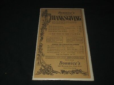BONNICE'S MARKET-FORTY FORT, PA-EVERYTHING FOR THANKSGIVING-1960s ERA PRINT AD