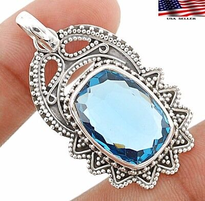 """14CT Tanzanite 925 Sterling Silver Detailed Design Pendant Jewelry 1 2/3"""" Long"""