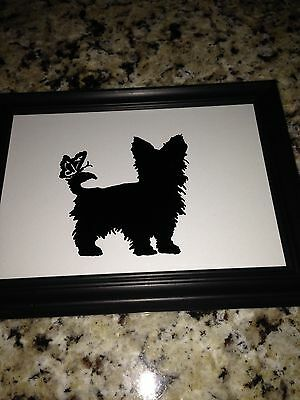 Yorkie and Butterfly -- Reverse Painted Silhouette Picture