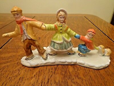 Walter Brockmann WB Accessory Family Ice Skating Cracking the Whip with Puppy