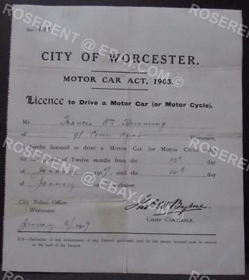 1917 City of Worcester - Licence to Drive a Motor Car or ( Motor Cycle ) annual