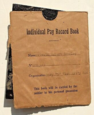 """Individual Pay Record Book 1918 Bury """"D"""" 71st Art'y CAC"""