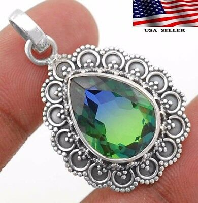 12CT Double Color Tourmaline 925 Sterling Silver Detailed Design Pendant Jewelry