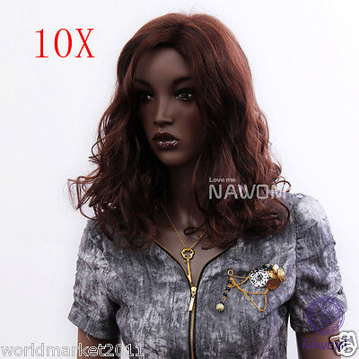 10X Fashion Centre Parting Fringe Kanekalon Red Brown Mid-Length Curly Women Wig