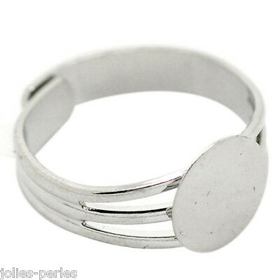 10PCs Silver Tone Copper Adjustable Ring Blank Pad Base 18.3mm US 8(Pad:10mm)