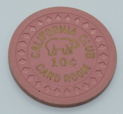 California Club 10¢ Casino Chip Las Vegas NV Diamond Mold 1950's FREE SHIPPING
