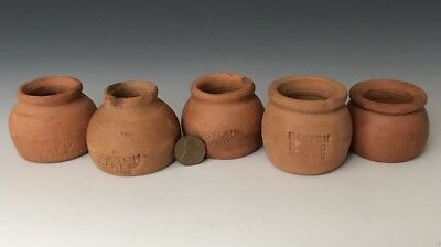 Antique Redware: 5 Miniature c.1900 Boston Baked Bean NECCO Penny Candy Pots, NR