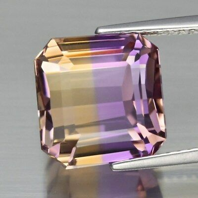 Very Clean 6.53ct Octagon Natural Untreated Yellow & Purple Ametrine, Even Split