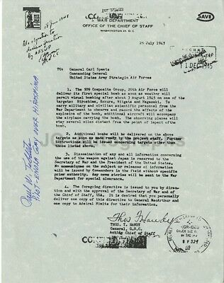 Paul Tibbets - WWII Enola Gay Pilot - Autographed Official Bombing Order Copy