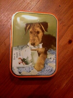 Vintage Airedale Terrier Tin - England
