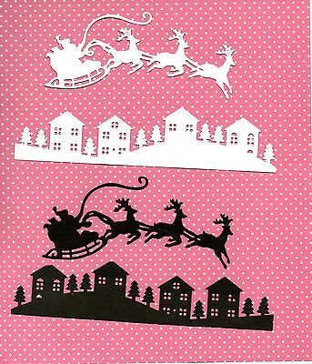 New Large Santa, Reindeer & House Die Cuts- Silhouette Christmas Scene Jars