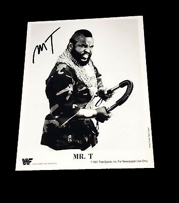 Wwe Mr T Hand Signed Autographed Promo Photo With Coa Very Rare