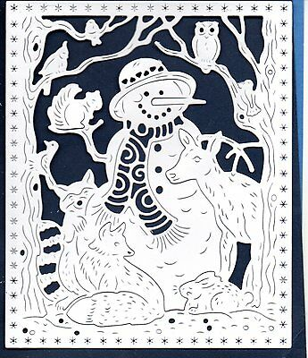 New Tattered Lace Snowman & Animal Scene Frame Die Cuts -Christmas Winter Topper