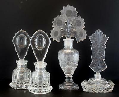 Group of 4 Antique & Vintage Cut Crystal Glass Perfume Scent Bottles No Reserve