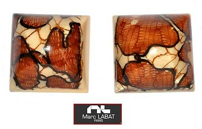 Vintage French Signed Marc Labat Square Resin Earrings With Embedded Lace