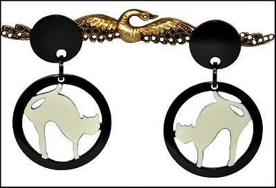 French Resin Dangling Clip On Cat Earrings -- Black Creamy White