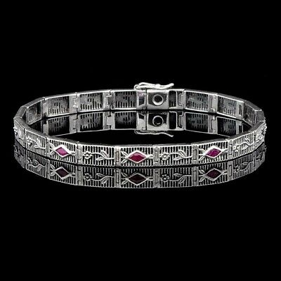 Ruby 925 Solid Sterling Silver Victorian Style Tennis Bracelet jewelry