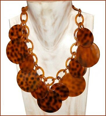 Spectacular Faux Tortoise Shell Resin Bib Necklace With Discs Charms
