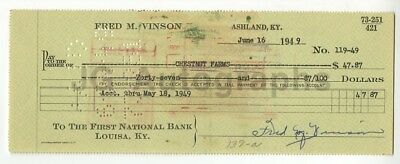 Fred Vinson - Chief Justice of the Supreme - Autographed 1949 Canceled Check