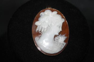 Antique 14Kt Marked 585 Gold Setting Shell Cameo W/ Bird Shoulder Brooch Pendant