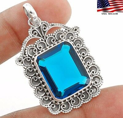 26CT London Blue Topaz 925 Solid Sterling Silver Detailed Design Pendant Jewelry