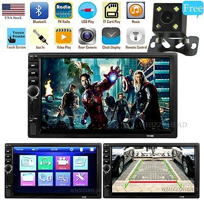 """Car Stereo Radio Bluetooth Audio Receiver Double Din 7"""" Touch Screen USB AUX TF"""