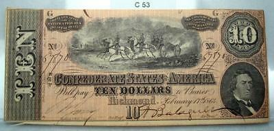 1864 $10 Ten Dollar Confederate Note / Currency T-68 #c53