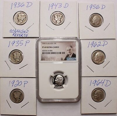 7 Raw 90% Silver Mercury & Roosevelt Dimes 1 1997 NGC Proof 69 UC 8 Coin PQ Lot