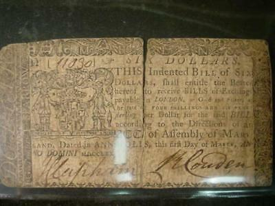 March 1 1770 Maryland Continental Currency Six Dollars Fair