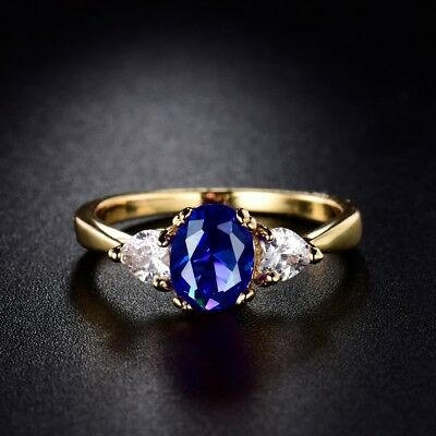 Blue Sapphire Crystal Perfect 24k Yellow Gold Filled Wedding Rings Jewelry Sz8