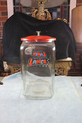 "Vintage Original Red Tin Lid Glass Lance Peanut 14 1/2"" Tall Jar Country Store"
