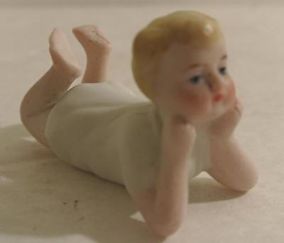 Antique Bisque Porcelain Hand Painted Face DOLL FIGURINE Miniature Piano Baby