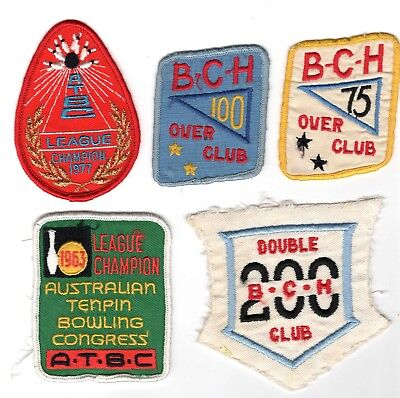 Vintage - Five (5) Tenpin Bowling Cloth Patches (Lot B) - Freepost