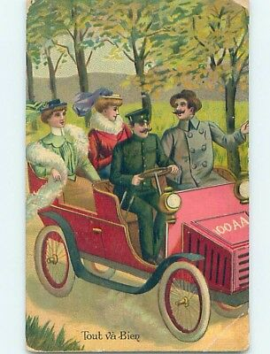 1914 foreign WOMEN RIDING IN BACK OF VERY OLD ANTIQUE AUTOMOBILE CAR HL8018