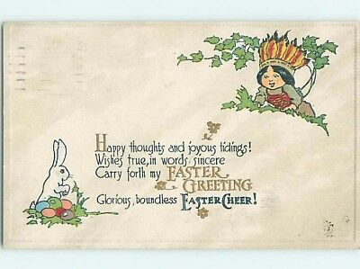 Pre-Linen easter NATIVE INDIAN CHILD FINDS BUNNY RABBIT HL0515