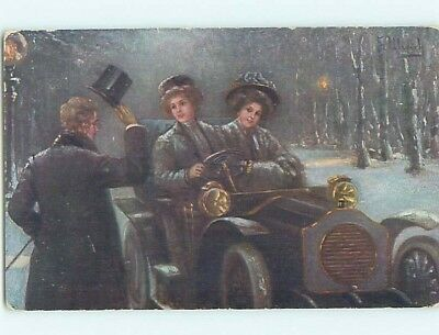 Pre-Linen suffrage interest WOMAN DRIVING EARLY AUTOMOBILE CAR HL7519