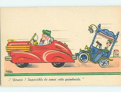 Pre-Chrome foreign signed SPEEDING 1940'S SPORTS CAR TOWING OLDER CAR HL8252