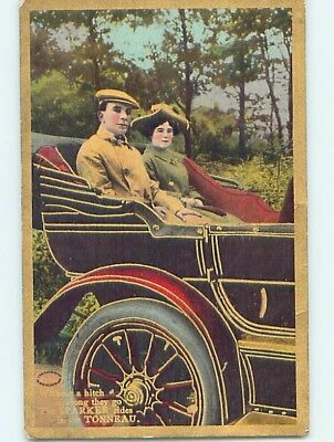 Pre-Linen COUPLE RIDING IN THE TONNEAU - OLD REFERENCE TO AUTOMOBILE CAR HL4480