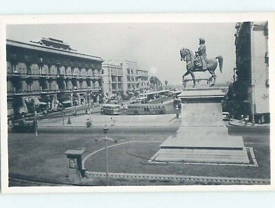 old rppc STATUE BY OLD BUSES AND BUILDINGS Alexandria Egypt HM1867