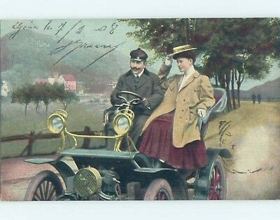 1908 foreign LARGE DETAILED VIEW OF THE ENGINE IN ANTIQUE AUTOMOBILE CAR HL7416