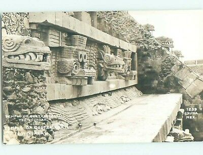 old rppc CARVED STATUES AT TEMPLE Teotihuacan Mexico HM1840