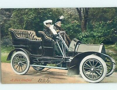 1907 very early view LARGE DETAILED ANTIQUE AUTOMOBILE CAR HL6381